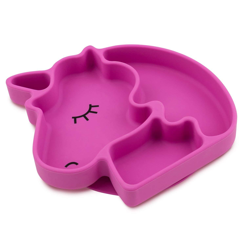 Pink Plato de Silicona con fuerte Ventosa para Bebes y ni/ños peque/ños Plato infantil con ventosas antivuelco para tronas para aprender a comer BLW. AWIIK Plato BLW antideslizante con succi/ón