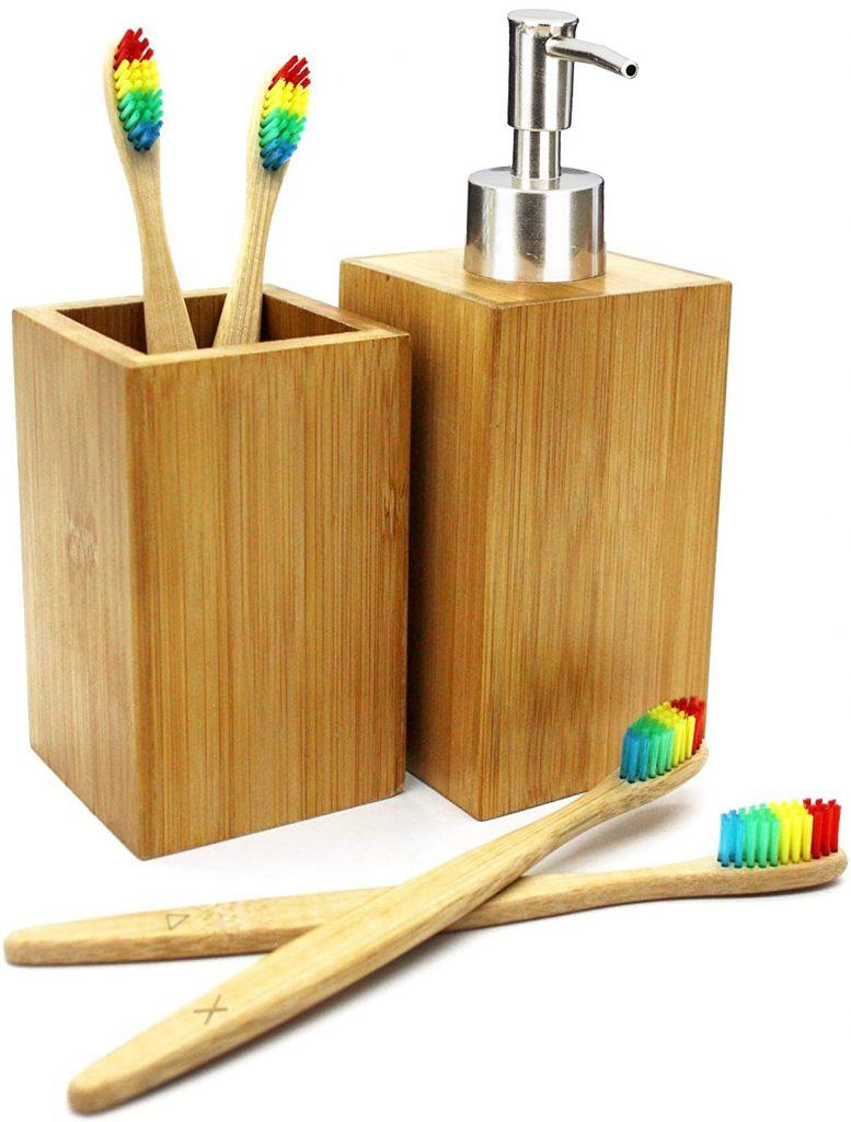 Accesorios de baño con 4 cepillos de dientes de bambú - Buabi